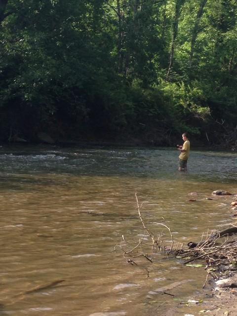 Fishing along the creek